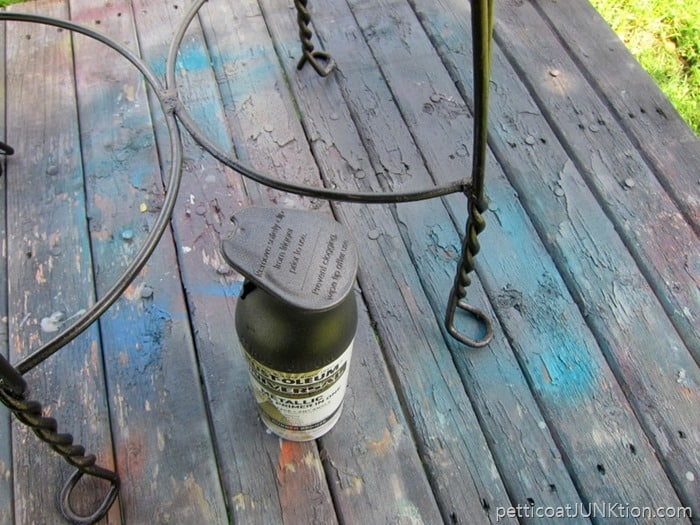 RustOleum Metallic spray paint for the metal chair color is Oil Rubbed Bronze