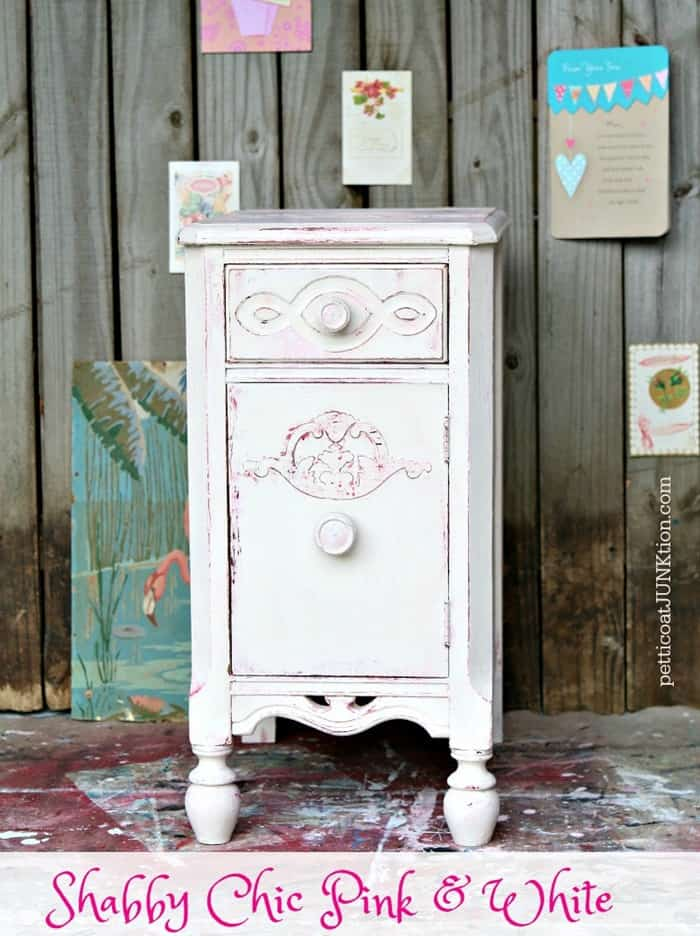 Shabby Chic Pink And White Furniture before and after Petticoat Junktion