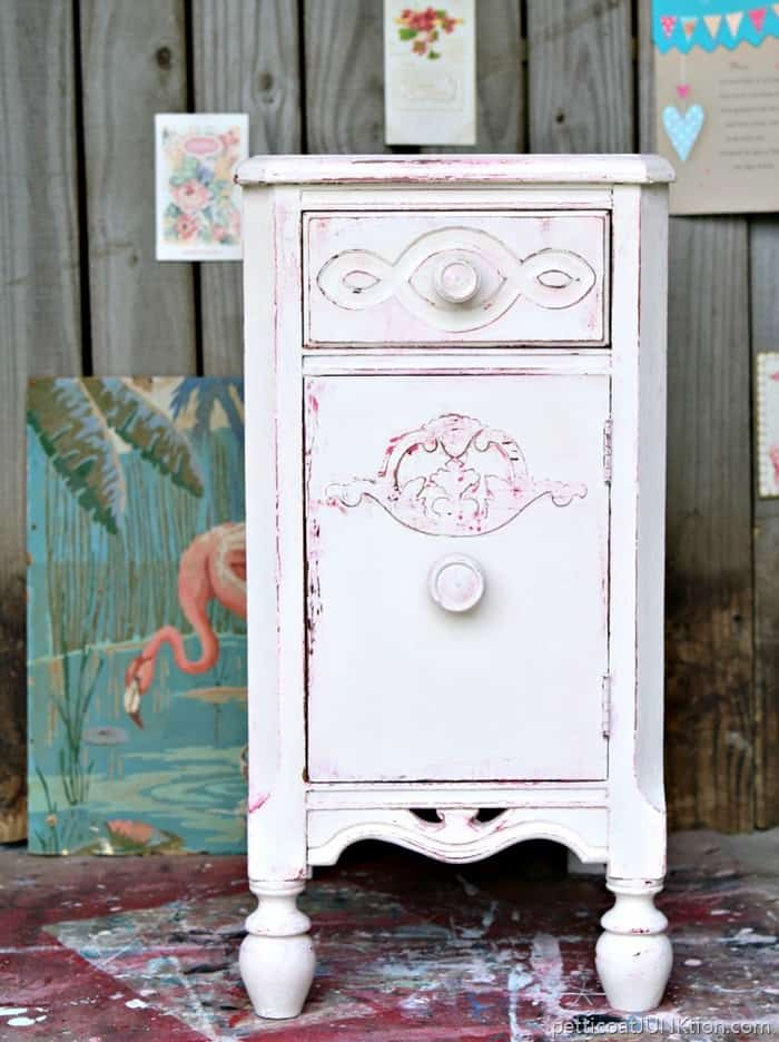 Shabby Chic Pink And White Paint Layers Petticoat JUnktion before and after furniture makeover
