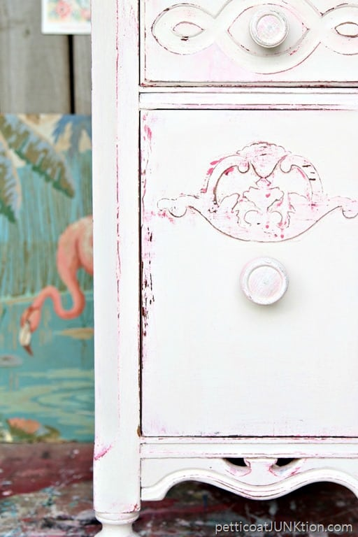 Shabby Chic Pink And White Paint Layers For Furniture