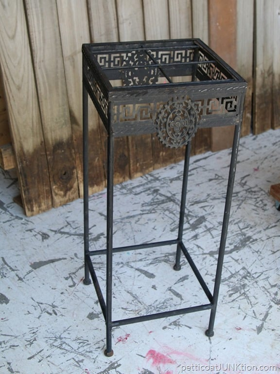 How we made a top for the metal stand petticoat junktion - Decorative metal table bases ...