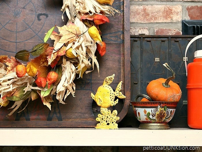 fun funky junk finds decorate my mantel Petticoat Junktion Fall mantel decorating ideas 1