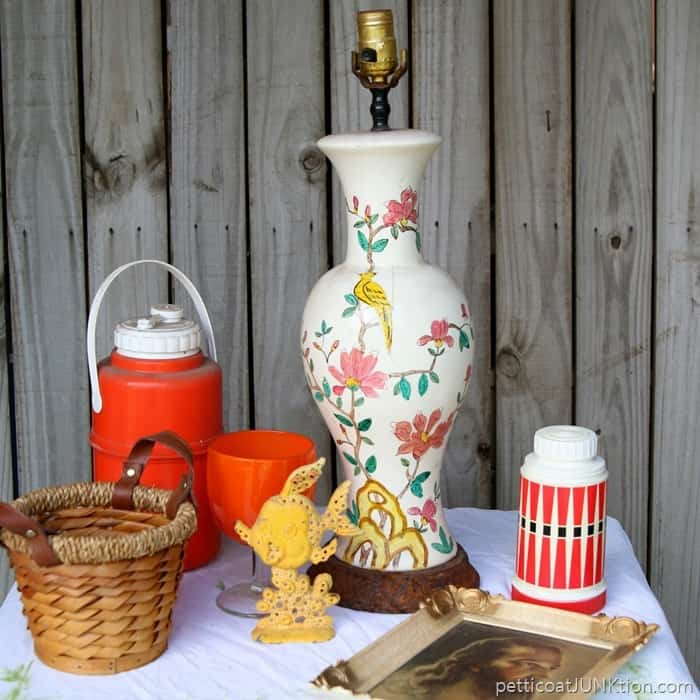 junk finds for decorating the Fall mantel