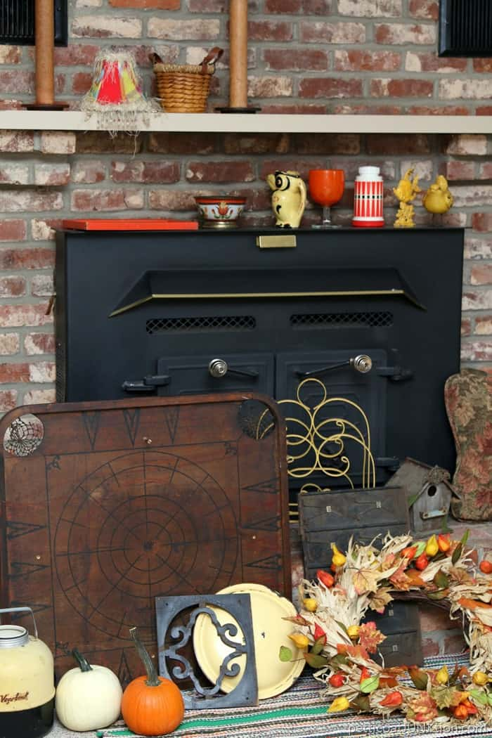 shopping the house and workshop for Fall colors to decorate the mantel Petticoat Junktion