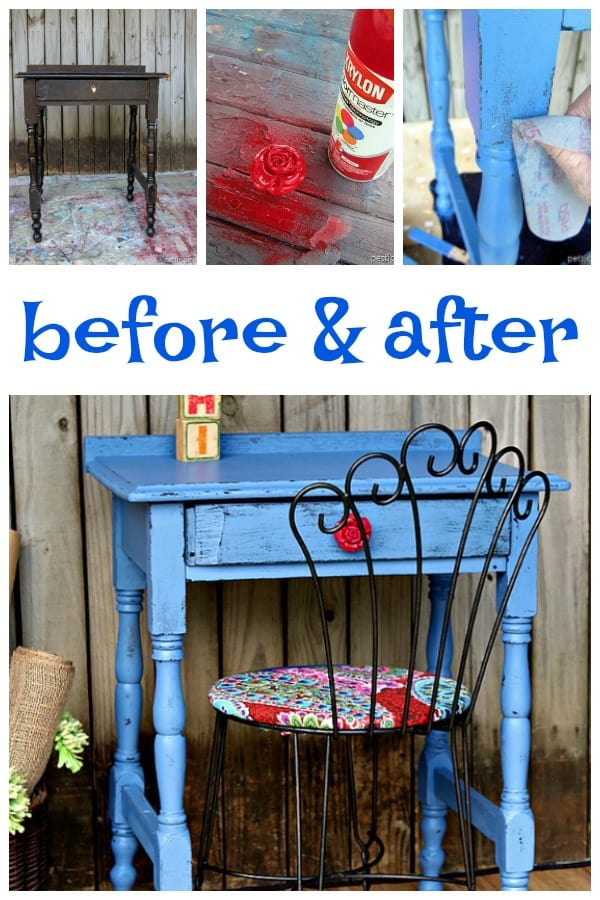 vintage furniture painted with before and after photos and paint tutorial