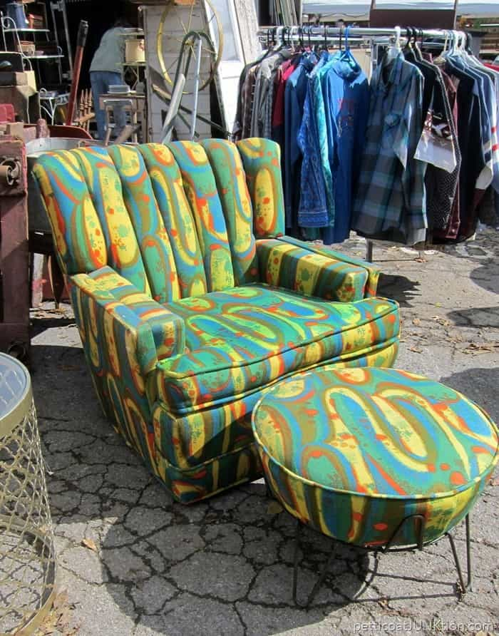 A Perfect Day For Flea Market Browsing and a funky 50s or 60s upholstered chair
