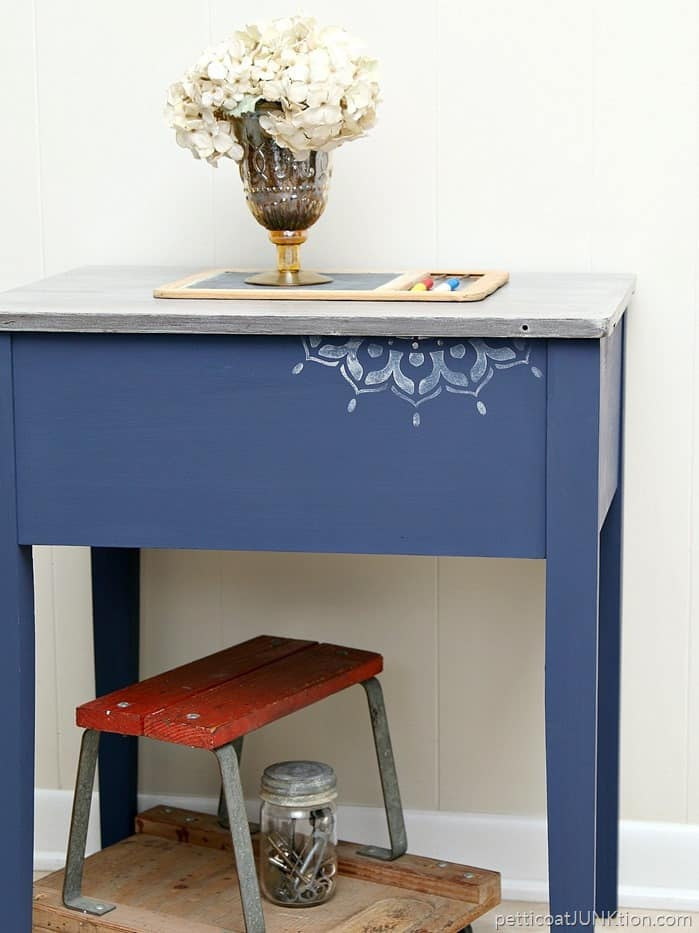 Bohemian stenciled table project FolkArt Milk Paint in Inkwell