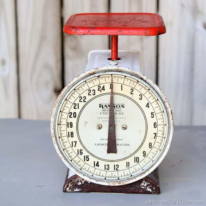 Vintage Kitchen Scales: Estate Sale Finds: Red Vintage Kitchen Scale-Petticoat