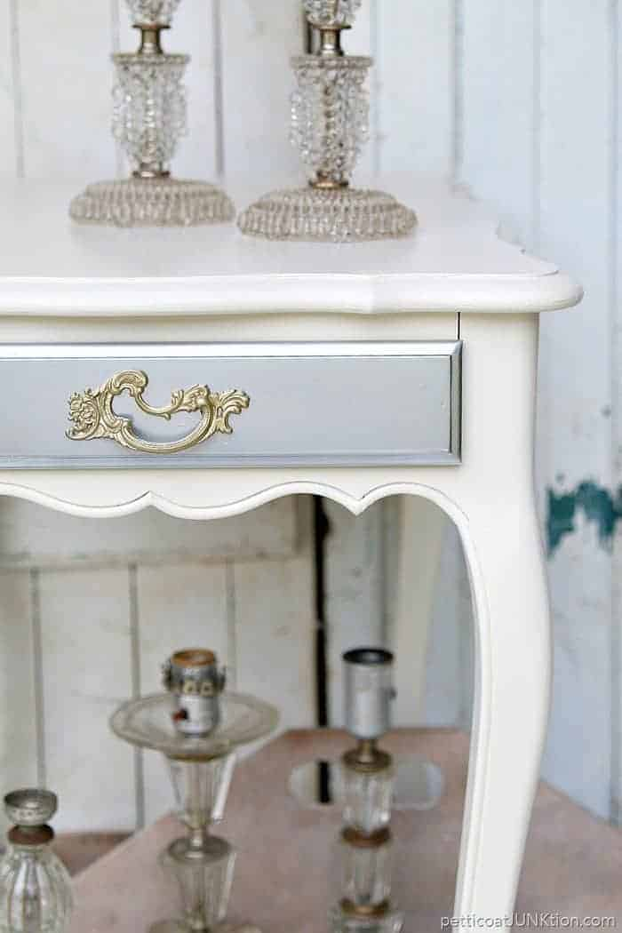 Glitzy Silver And Gold Metallic Furniture Facelift Project from Petticoat Junktion