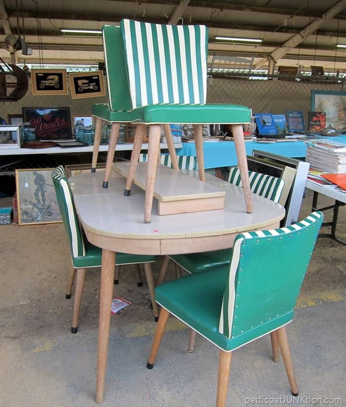 Green And White Vintage Vinyl Kitchen Chairs at the Nashville Flea Market