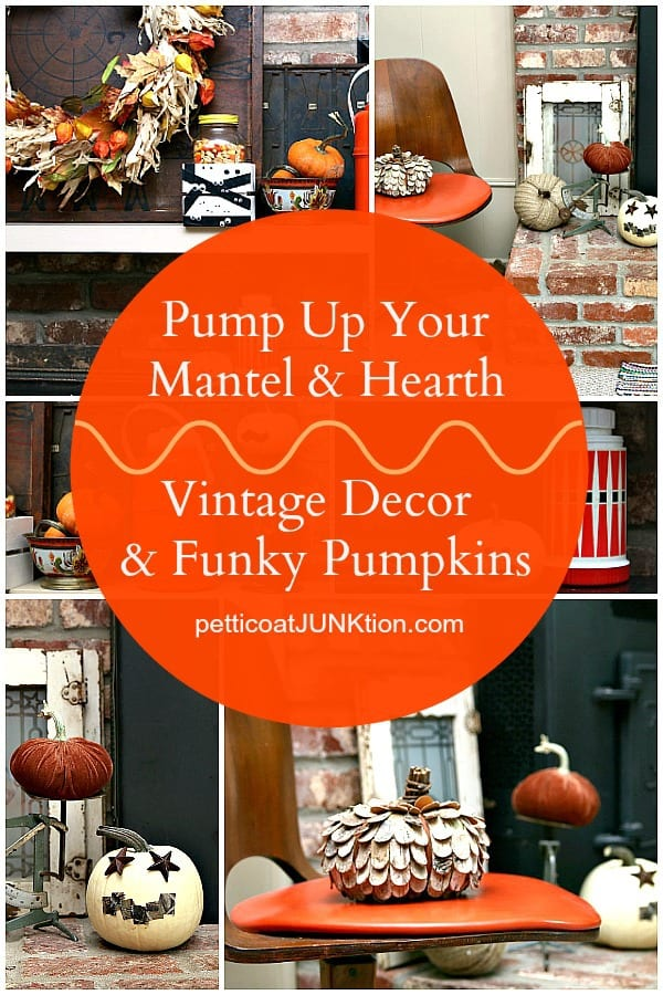 pump-up-mantel-and-hearth-decor-with-vintage-decorations-and-funky-pumpkins