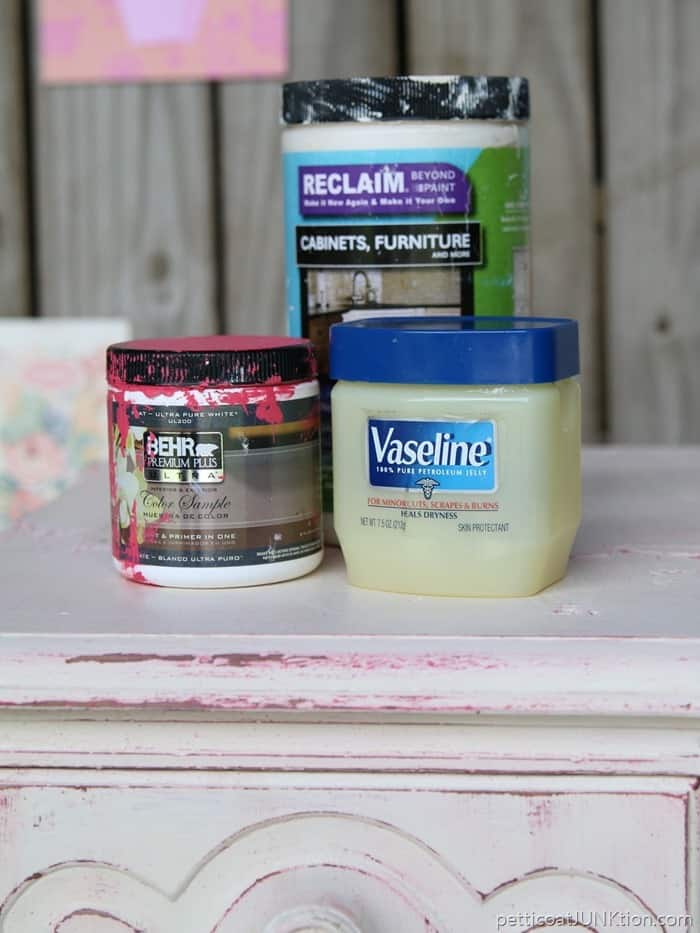 Reclaim paint for top layer Behr Sample Oops Paint for bottom layer and Vaseline to distress paint