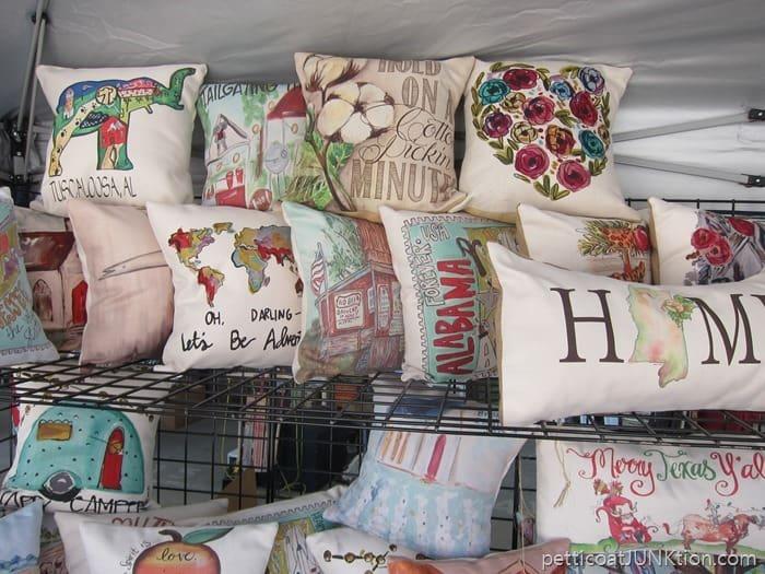 pretty pillows at the Nashville Flea Market