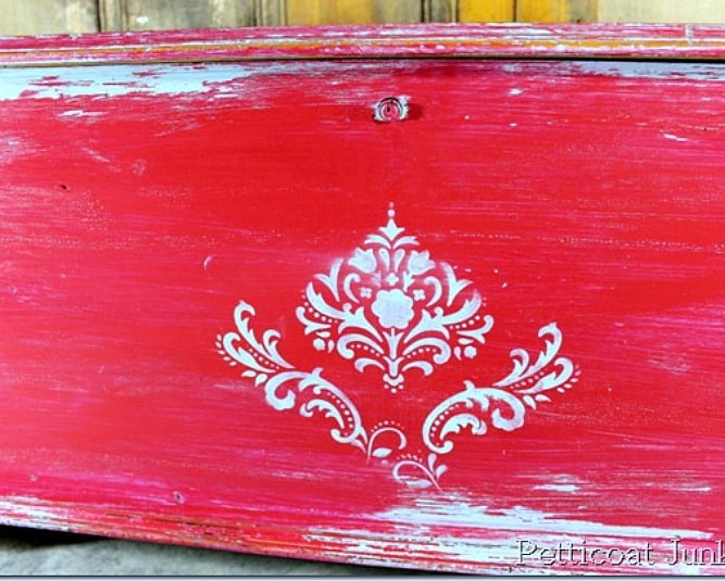 red and turquoise Vaseline distressed furniture