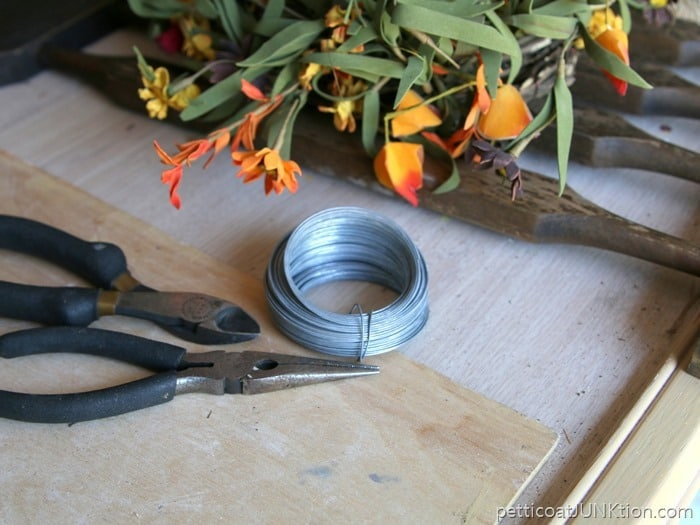 wire to tie wreath to wood