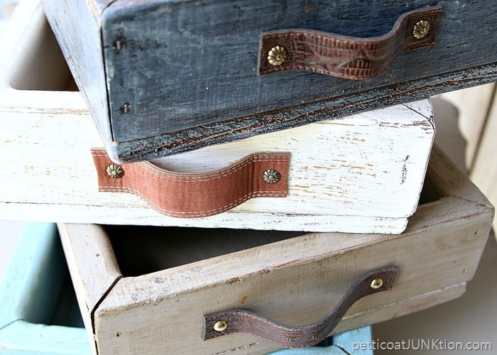 wood tray handles from recycled leather belts