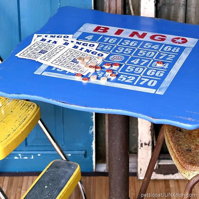 Bingo Reclaimed Table Stenciled For Fun Petticoat Junktion project