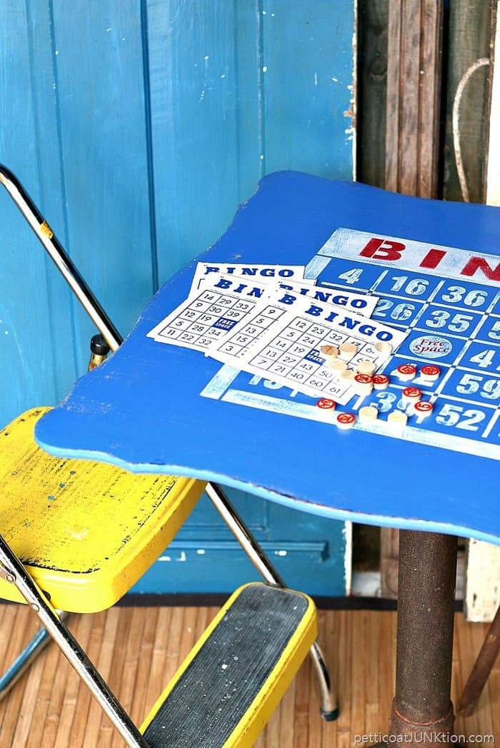 Bingo table for fun and games stenciled in red white and blue 1