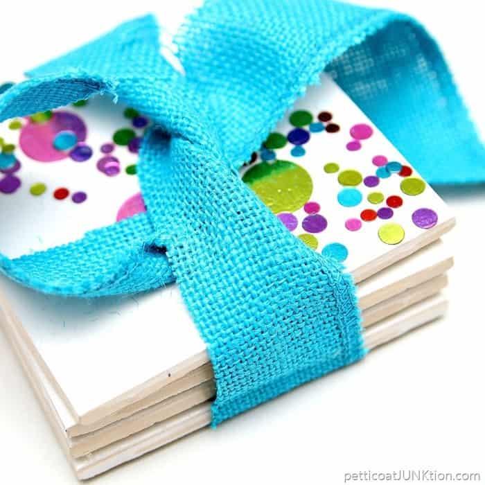 Colorful Confetti Coasters 30 Minute DIY Gift Idea