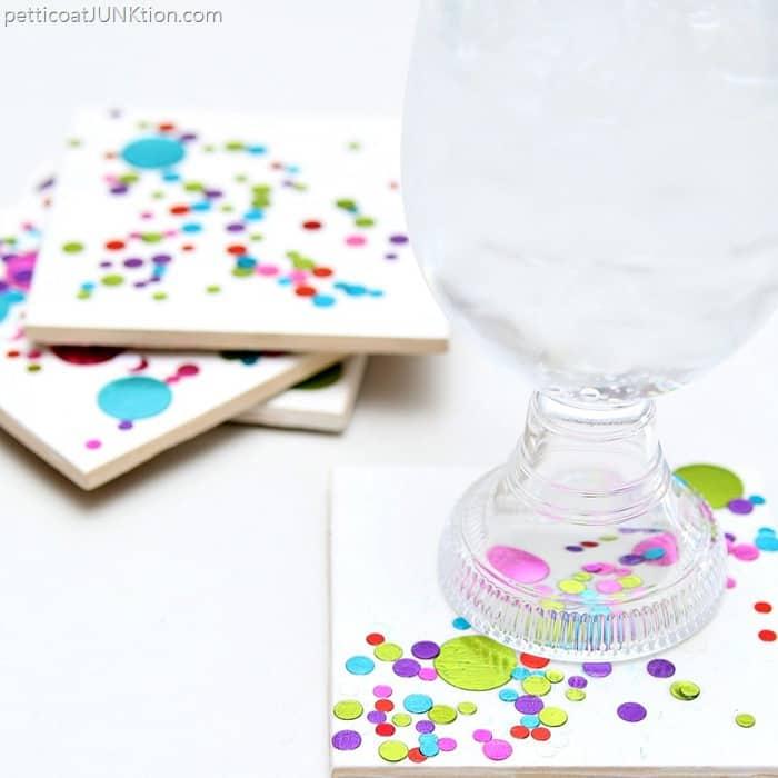 Colorful Confetti Tile Coasters 30 Minute DIY gift idea project by Petticoat Junktion