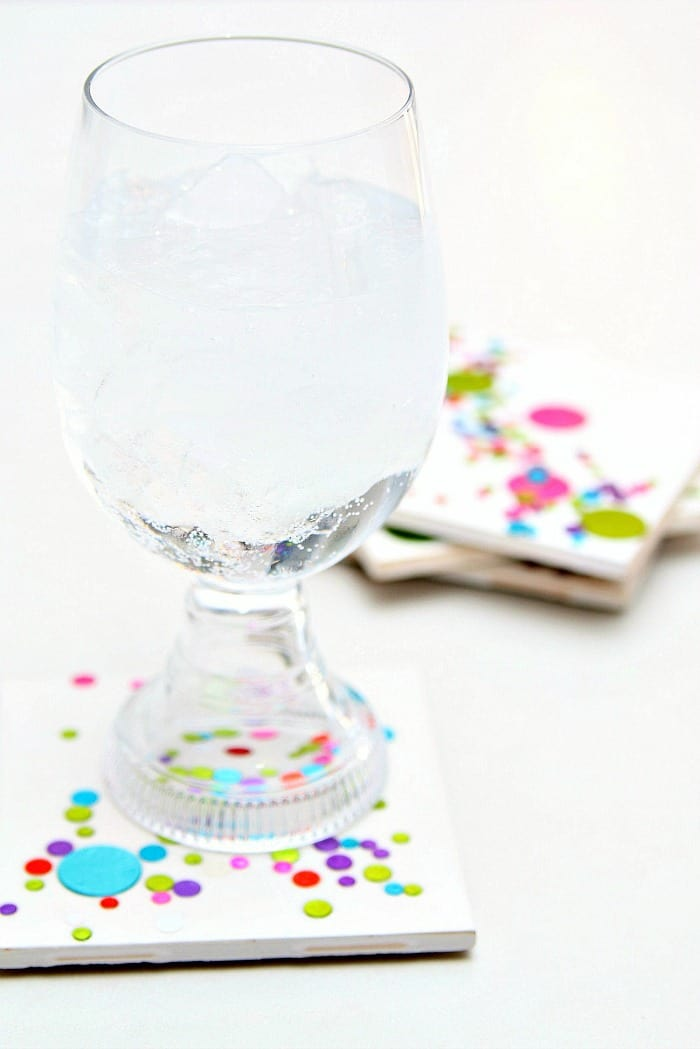 easy inexpensive diy confetti coasters make great gifts