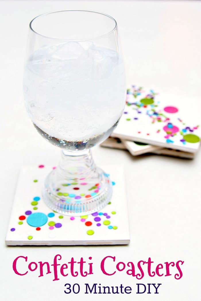 Confetti coasters make great gifts and only take 30 minutes to make Petticoat Junktion project