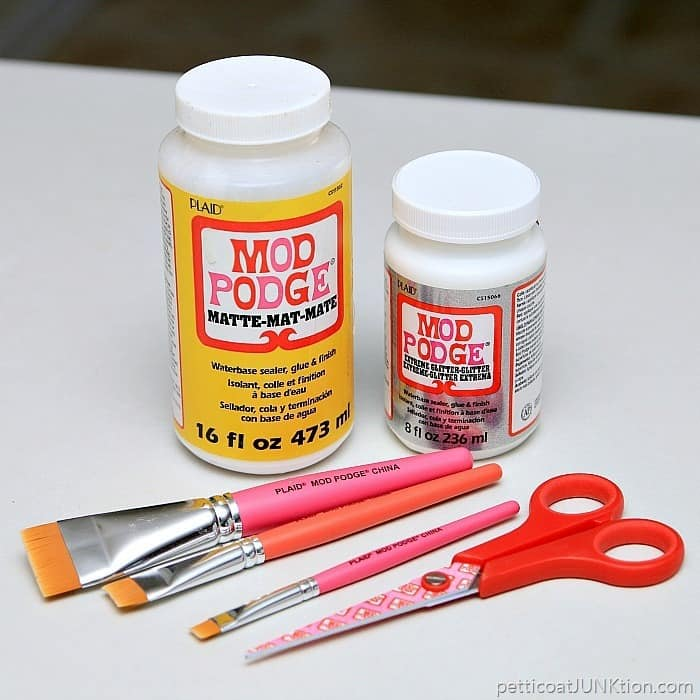 Glitter and Matte Mod Podge and Mod Podge brushes and scissors