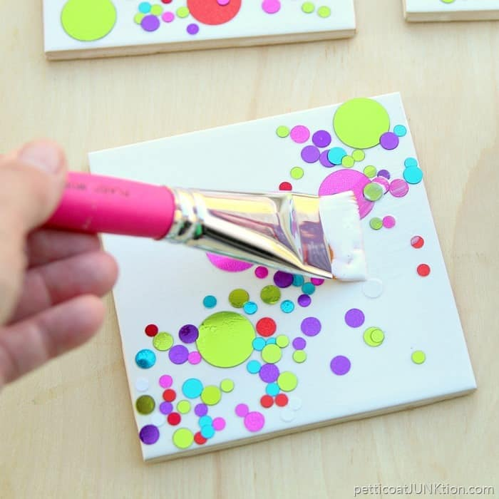 Gloss Mod Podge to make the confetti coasters shine