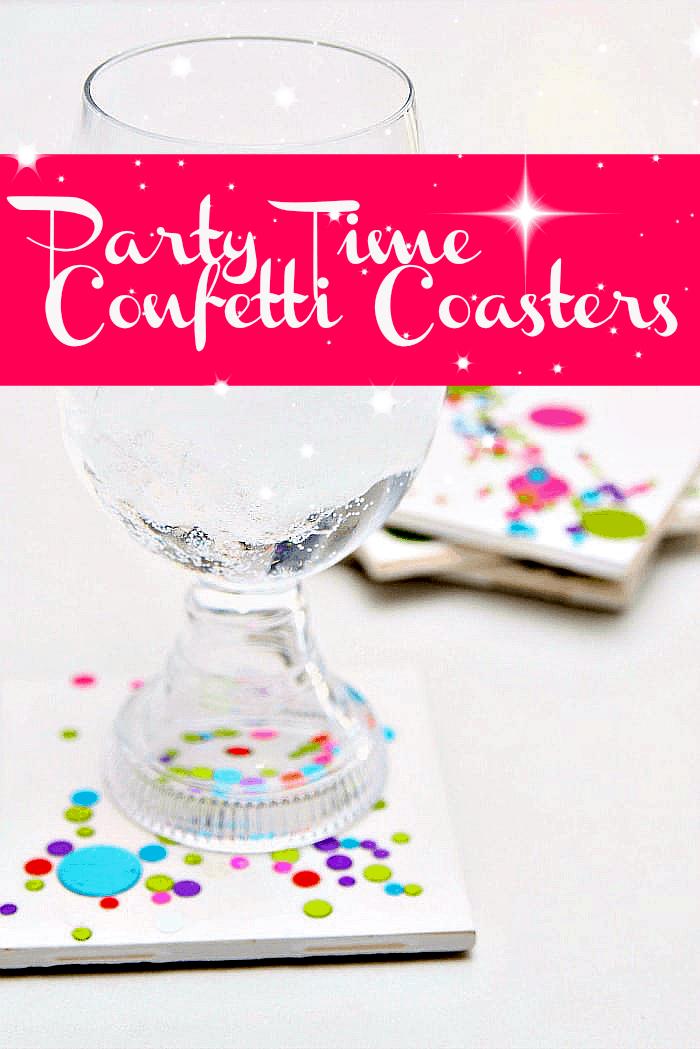 How to make diy confetti tile coasters