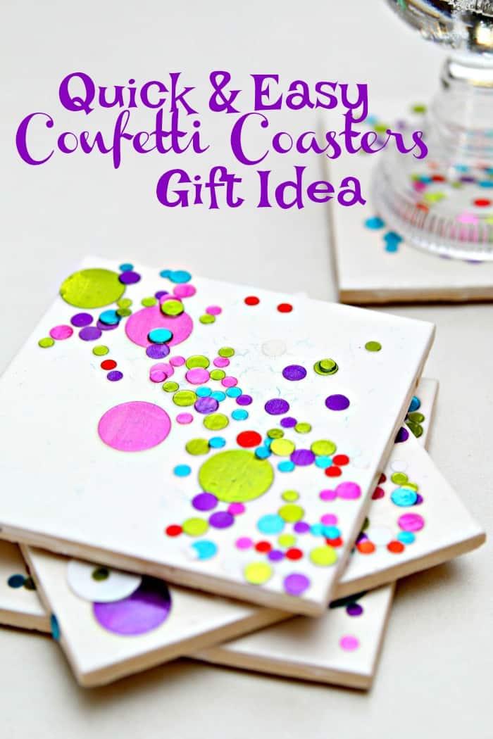 Quick and easy diy confetti coasters gift idea