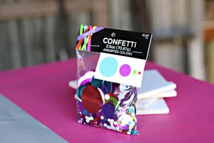 colorful confetti to make tile coasters