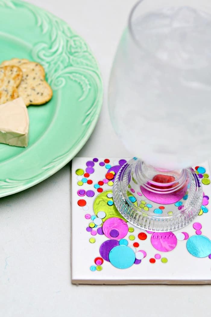 easy diy confetti coaster inexpensive gift idea