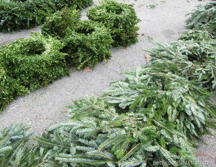 fresh Boxwood wreaths and fir wreaths at the Nashville Flea Market