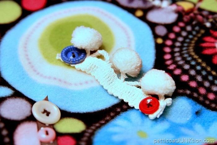 pom pom fringe for busy blanket