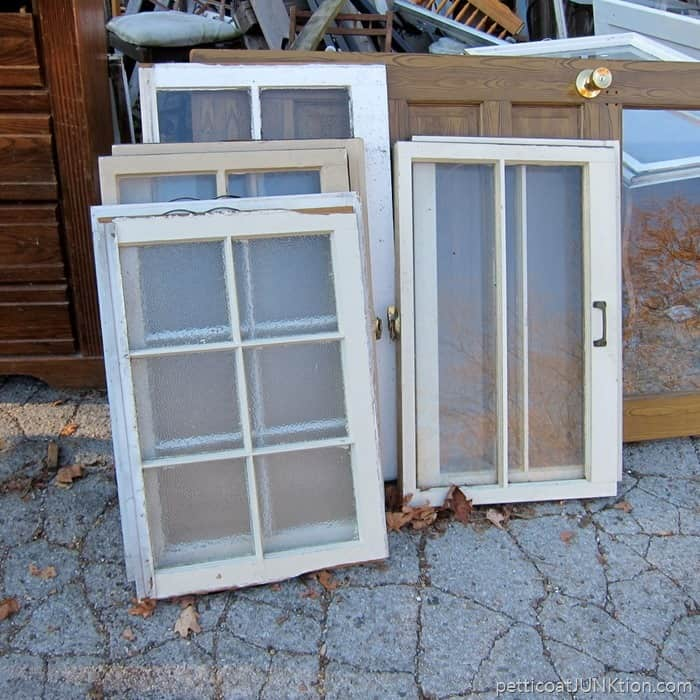 reclaimed windows with funky glass