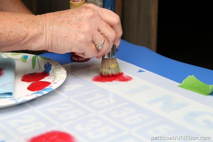 stenciling the Bingo