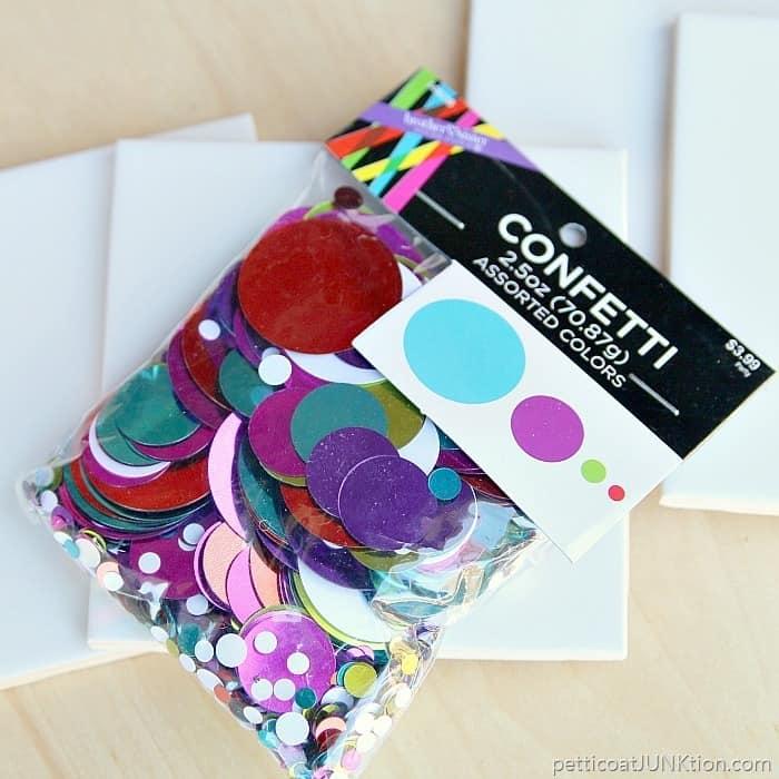 supplies for confetti coasters