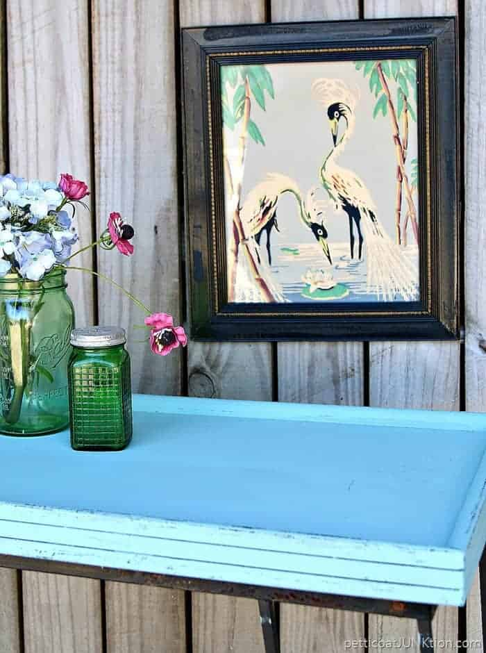 Black Dog Salvage Furniture Paint & The Table Project painted with pretty Roanoke Rain blue