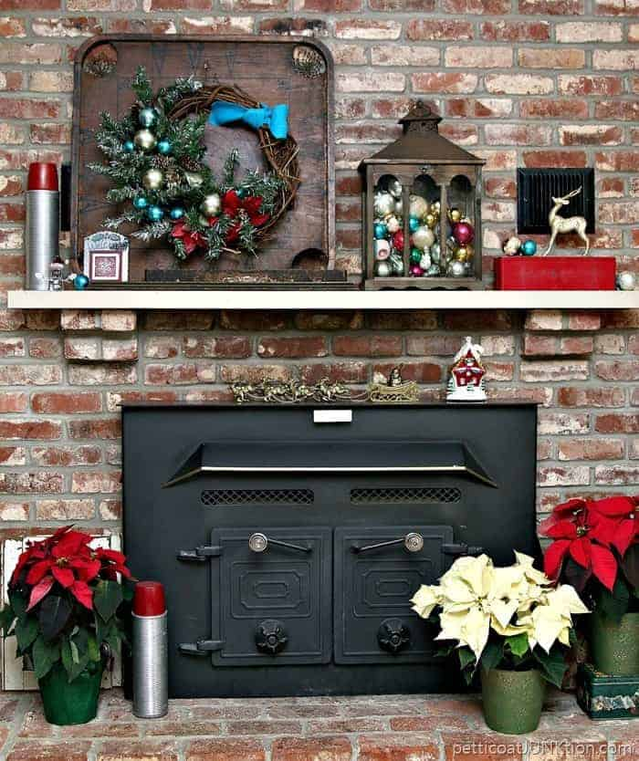Decorating the mantel and hearth for Christmas with recycled upcycled reclaimed home decor