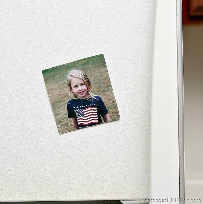 Mod Podge transfer medium refrigerator magnet photo transfer project