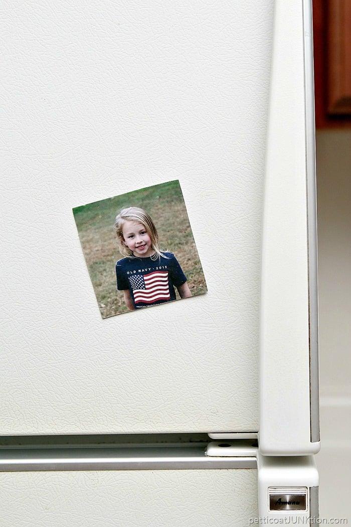 Mod Podge transfer medium refrigerator magnet project 11