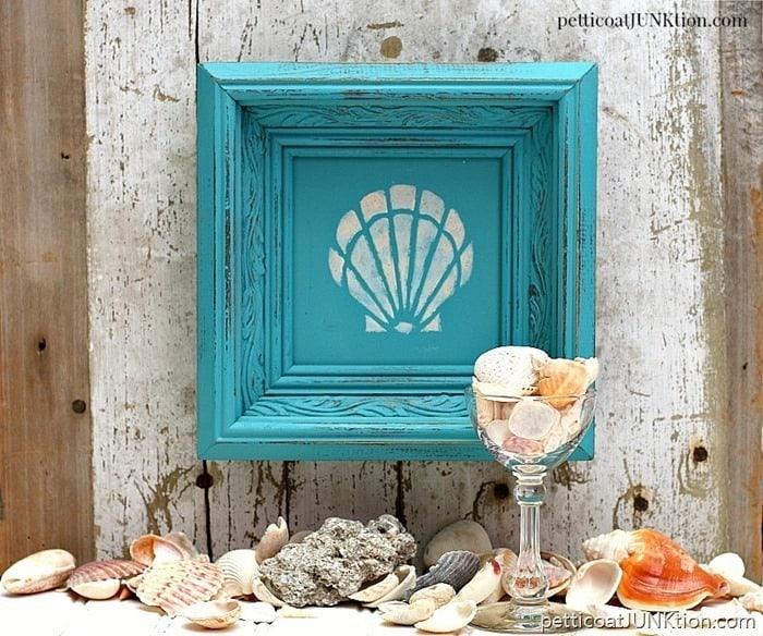 She-Stencils-Seashells-But-Not-By-The-Seashore-Petticoat-Junktion-framed-seashell-stencil-art-wa-1
