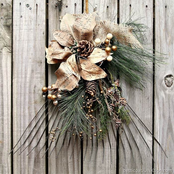 diy rake wreath with greenery for Fall and Winter 3
