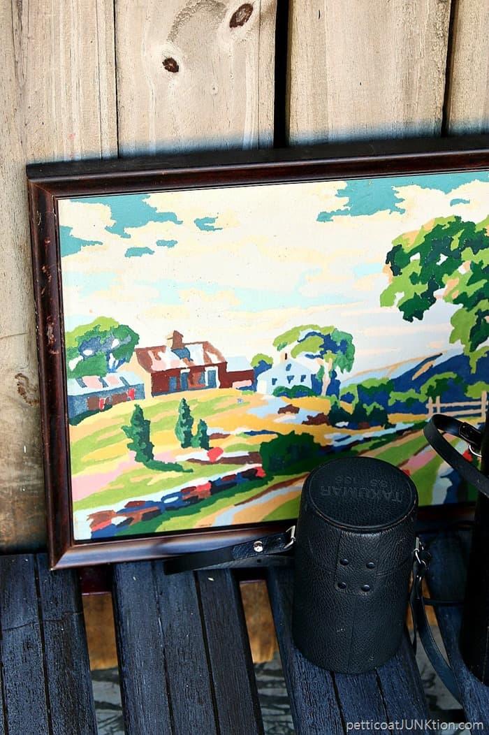 framed vintage paint by number