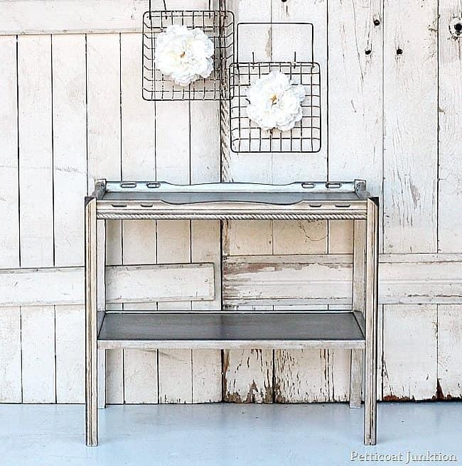 metallic silver table aged