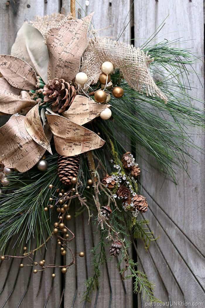 pretty poinsettia rake wreath