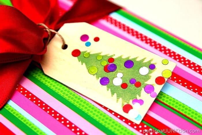 stencil and confetti gift tags easy diy project