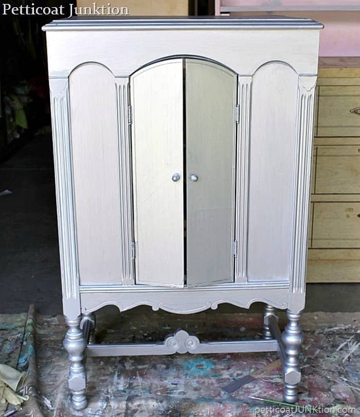 vintage radio cabinet painted metallic silver Metallic Paint Options For Big And Small Projects