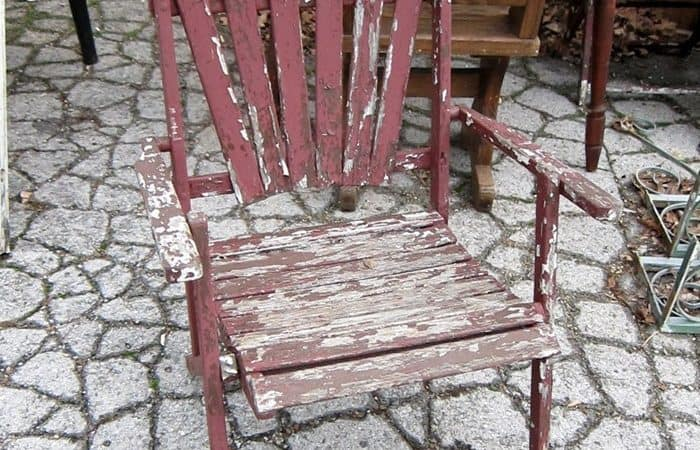 chairs with chipped paint
