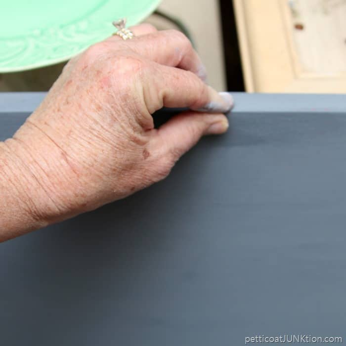 Distressing painted furniture with Vaseline Petroleum Jelly